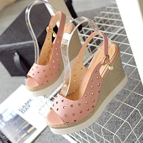 impermeabile Estate coreano sandali ZHZNVX cerniera velcro Pink nuovo red bassi alto tacco pesce bocca con ZqTTvafwd