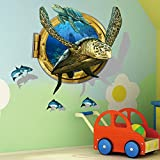 unique wall decals - 3D Submarine World under sea Kid Room Decor and Wall Decor Unique Decor Removable Wall Art Sticker Decal Home (Sea turtle)