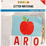 LEARN Letter Matching - 12 Chipboard Cards and 1 Wood Clip