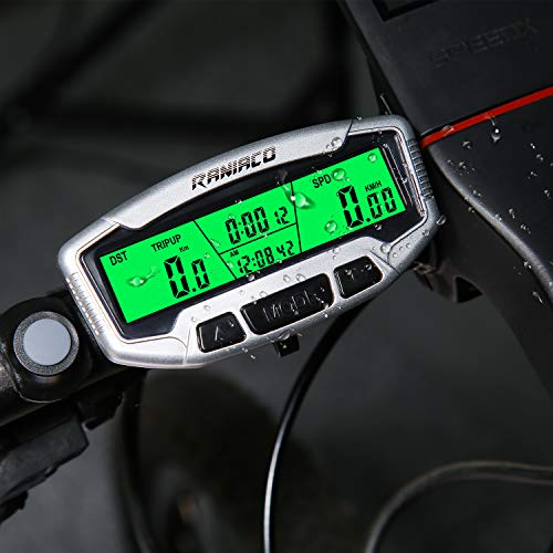 Raniaco Bike Computer, LCD Backlight Automatic Wake-up Multifunctions Cycle Computer Wireless Waterproof Bicycle Odometer Speedometer for Performance and Racing (Wireless Bike Computer 2)