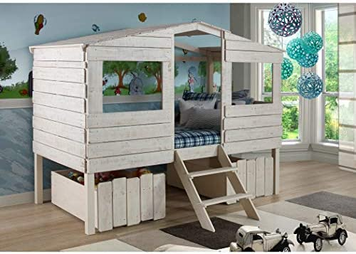 DONCO KIDS Tree House Low Loft Bed Rustic Sand/Twin/W/Dual UNDERBED Drawer