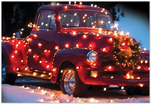 Holiday Lights Poinsettias - B2282EXSG Box Set of 12 All Trucked Up Christmas Card Featuring a Truck Adorned With Holiday Lights; with Envelopes