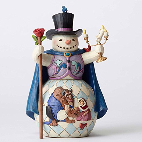 Jim Shore Disney Enchanted Christmas Beauty and Beast Snowman Figurine 4051973