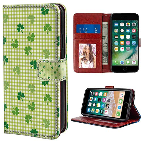 Wallet Case Fit for Apple iPhone 6 Plus/iPhone 6s Plus (5.5 Inch) Irish Retro Classical Checkered Pattern with Cute Green Shamrocks Clovers Garden Plants Multicolor for Women Case (Shamrock Phone Case)