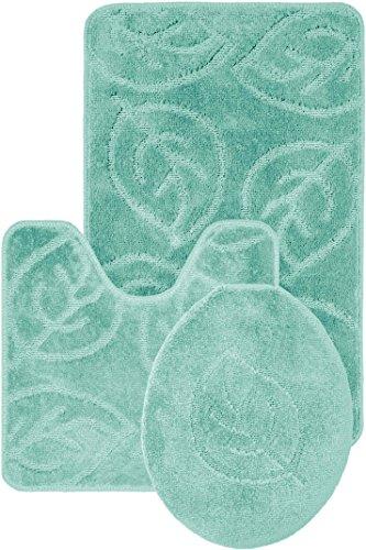 Aqua Leaves - Everdayspecial Leaf Pattern Design 3pc Bath Mat Rug Set Light Blue Soft and Ultra Absorbent with Anti-Slip Backing