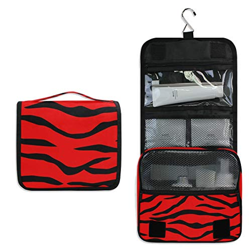 Red Tiger Large Capacity Hanging Toiletry Bag for Men & Women, Portable Waterproof Bathroom Shower Bag, Lightweight Dopp kit Shaving Bag, Sturdy Metal Hook Organizer Makeup Bag ()