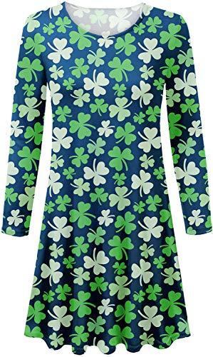 Spadehill Women St. Patrick's Day Long Sleeve Shamrock Tunic Dress