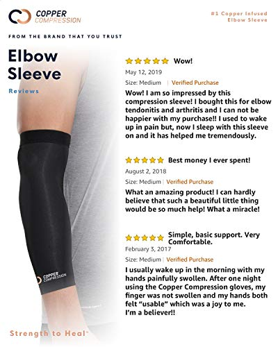 Copper Compression Recovery Elbow Sleeve - Guaranteed Highest Copper Content Elbow Brace for Tendonitis, Golfers or Tennis Elbow, Arthritis. Elbow Support Arm Sleeves Fit for Men and Women (Large) 9