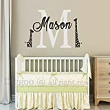 """Monogram Wall Decal with Initial and Name, Mom And Baby Giraffes Vinyl Wall Sticker For Baby Nursery Playroom (18"""" h x 27"""" w PLUS FREE WELCOME DOOR DECAL)"""