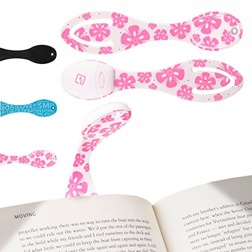 Book Light for Reading in Bed - Clip on LED Reading Light & Bookmark - Batteries Included - Great Birthday & Christmas Gifts for Book Lovers - Pink Flowers