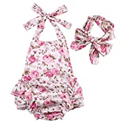 Newborn Baby Girls Halter Cotton Ruffles Romper Backless Sunsuit Jumpsuit Dress (0~6Months, Pink)