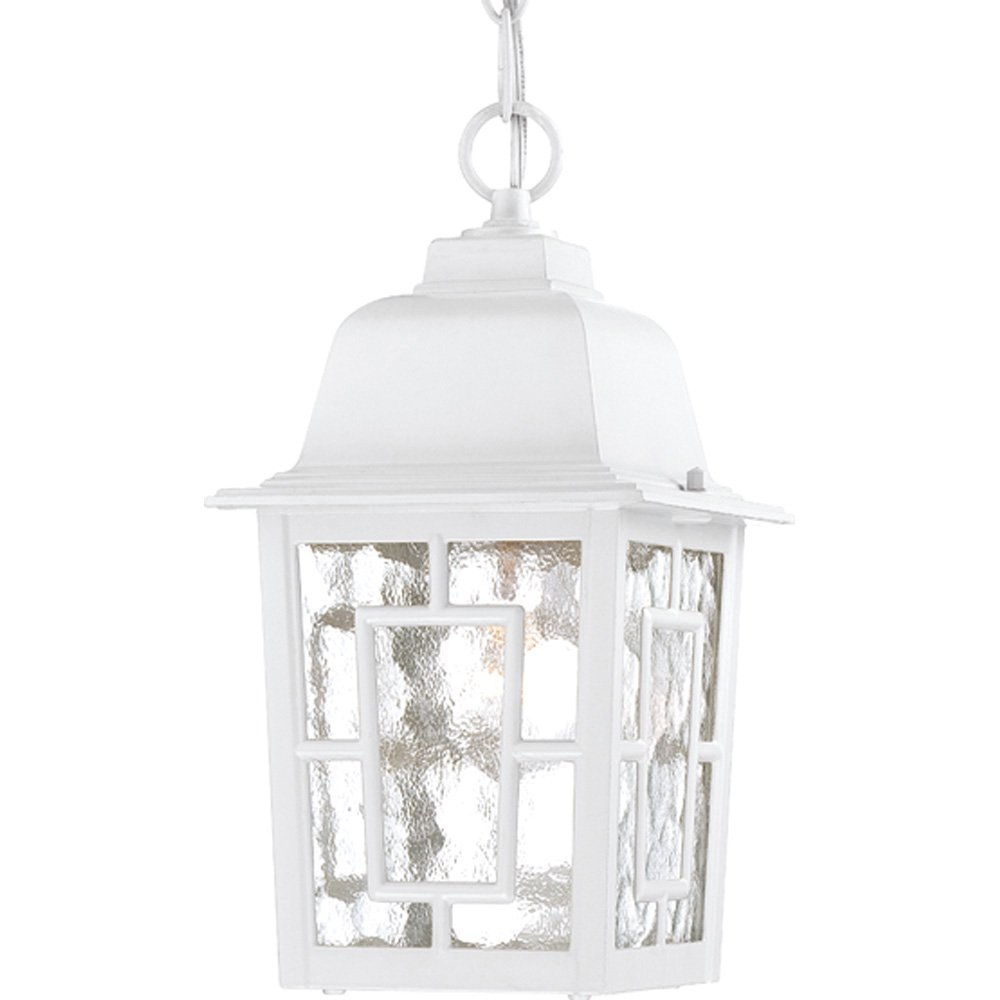 Nuvo Lighting 60//4921 Banyon One Light Wall Lantern//Arm Down 100-Watt A19 Max Clear Water Glass White Outdoor Fixture