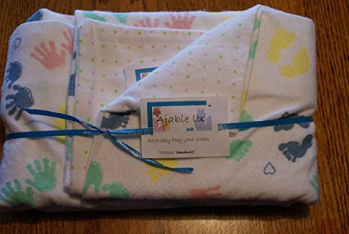 Pocket-2in1-Sheet Baby Handprints with Pink & Green Dotted Flannel 2 in 1 Patented No Slip Reversible Pack n Play Play Yard Fitted Sheet Cover or Day Care Mini Crib Mattress Sheet