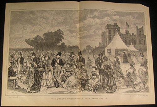 Queen Victoria Garden Party Windsor Castle England 1870 antique engraved - Victoria Garden Map