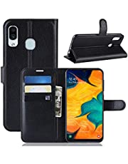 Samsung Galaxy A30 Case, [Pocket] PU Leather Wallet Shockproof Protective Book Style Case with Credit Cards Slot and Magnetic Closure Flip Stand Case (Black)