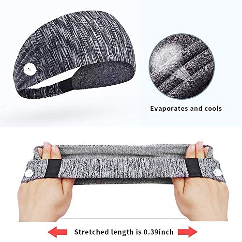 Yoga Sports Headband with Button Anti-Strap, Stretch Wide Hair Bandana to Protect Ears for Women/Men and Everyone, Shower Workout Elastic Sport Sweatband (gray)