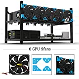 6 fans - 6 GPU Miner Case with 5 Fans Aluminum Stackable Mining Case Rig Open Air Frame For Ethereum(ETH)/ETC/ ZCash/Monero/BTC Excellent air convection design