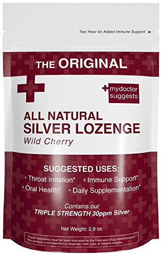 - Cough Drops - Natural Silver Lozenges Wild Cherry Flavor: Perfect for Cough, Throat & Mouth Health or Daily Supplement and Immune Support - 30ppm Silver Solution in Each Lozenge
