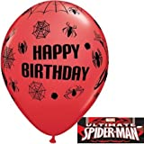 MARVEL'S SPIDER MAN BIRTHDAY 11 QUALATEX LATEX BALLOONS X 5 by Qualatex