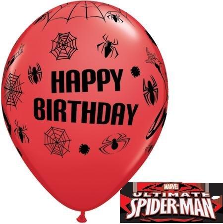 MARVEL'S SPIDER MAN BIRTHDAY 11 QUALATEX LATEX BALLOONS X 5 by Qualatex by Qualatex