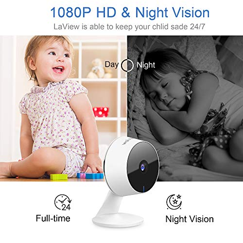 LaView Security Cameras 4pc,Home Security Camera Indoor 1080P,WiFi Cameras for Pet,Motion Detection,Two-Way Audio,Night Vision,Works with Alexa & Google Assistant,iOS & Android & Web Access,US Cloud