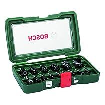 Bosch 2607019469 - Pack de 15 fresas con inserción de 8 mm, color negro y verde