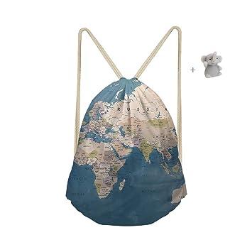 Bolsa de Cuerda, Morbuy Mapa del Mundo Mochila con cordón ...