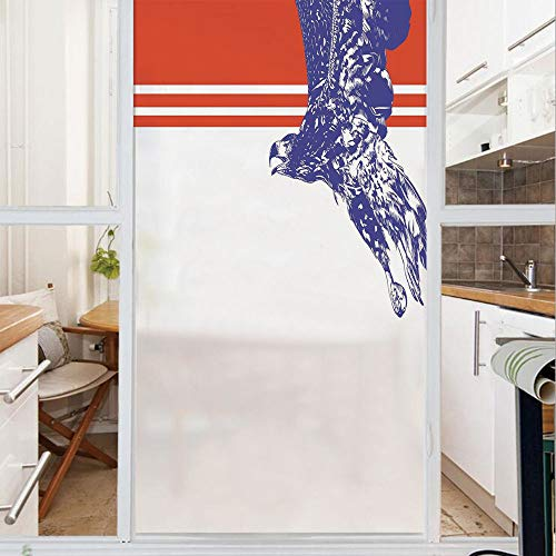 Decorative Window Film,No Glue Frosted Privacy Film,Stained Glass Door Film,Colors of The American Flag Red White Blue Bird Symbol of America Loyalty,for Home & Office,23.6In. by 47.2In Navy Blue Red