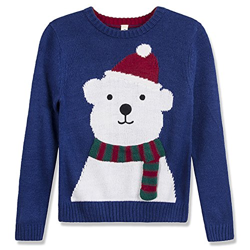 Best Subtle Halloween Costumes (Benito & Benita Christmas Sweater Crew Neck Pullover Xmas Sweater With Bear For Boys/Girls 3-13Y)