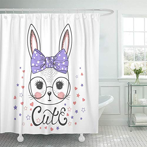 PAUSEBOLL Animal Cute Bunny Girl with Glasses Cartoon Face Bow Baby Pretty Adorable Beautiful Shower Curtain Bathroom with Hooks,Waterproof Polyester Curtain