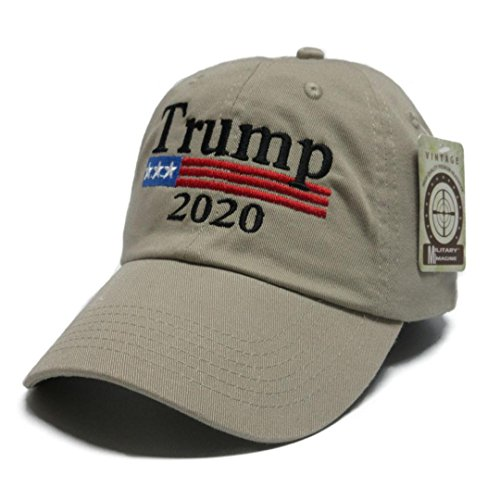 Military imagine Trump 2020 Keep America Great MAGA hat Cap Made in The USA! (Khaki)