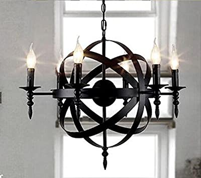 American industrial and retro wrought-iron chandelier European creative globe round dining room bedroom living room chandelier