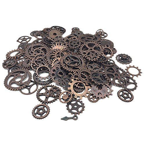 200 Gram (Approx 160pcs) DIY Antique Metal Steampunk Gears Charms Pendant Clock Watch Wheel Gear for Crafting, Cosplay Halloween Decoration,Jewelry Making Accessory (Copper) from Xin Necessities