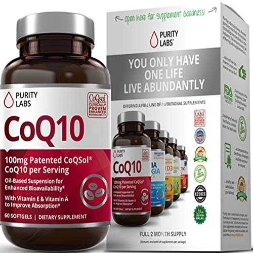 Purity Labs Ultra CoQ10 100mg Softgels – Now with Mega COQSOL® 2.6X Higher Absorption Than Regular Coenzyme Q10, 60 Softgels