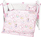 i-Baby Cot Bedding Sets Baby Toddler Crib Bedding Bed Duvet Set Includes Bed Duvet and Cover, Pillow and Cover, Sheet - Pink Little Dancing Princess Printed 5Pcs