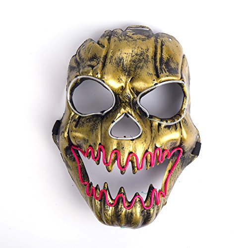 Luminous EL Wire Halloween Led Mask Flames Skull Mask Light Up Mask Flashing Carnival Masks for Show Halloween Festival Parties