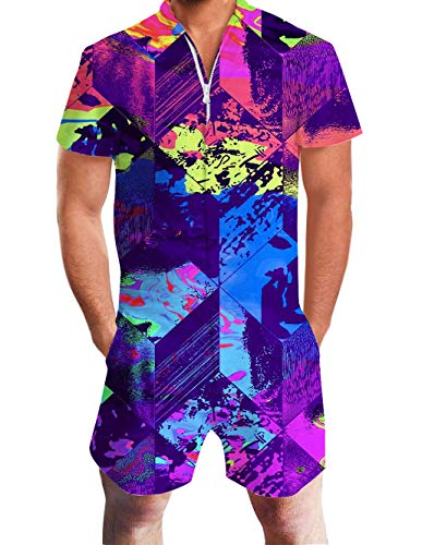 - Romoer Sets for Youth Men Boys Short Jumpsuits Purple Red Yellow Graphics Tie Dye Graffiti Fancy Vneck Zip Up Baggy Tropical Hawaiian Clothing Juniors Male 60 70s 80 90s Guy School Home Casual Wear