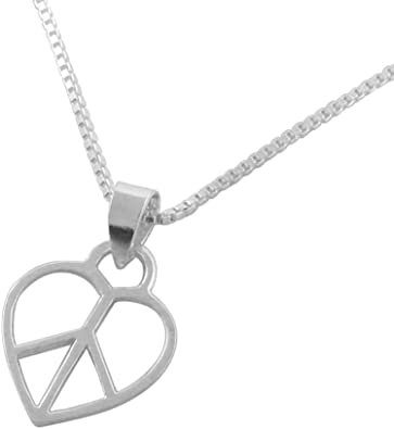 Peace Sign Heart Pendant White Simulated Opal .925 Sterling Silver Charm