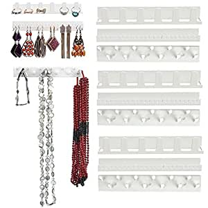 PERFLY Hanging Jewelry Organizer,Necklace Holder and Jewelry Display Stand Tree with Ring Tray to Organize Necklaces, Bracelets, Earrings, Rings and Watches, Nickel