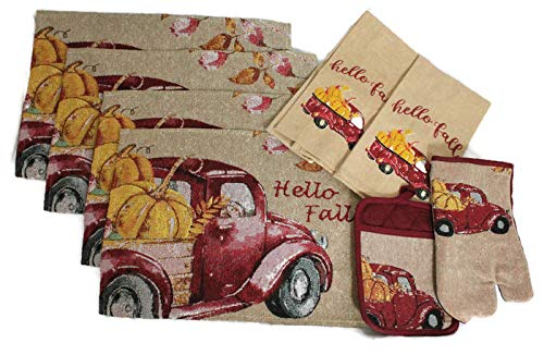 - 8 pc Tapestry Style Vintage Truck Fall Kitchen Decor Set - Hello Fall - Matching Fall Placemats, Kitchen Towels, Pot Holder, and Oven Mitt - Comes in an organza bag so it's ready for giving!