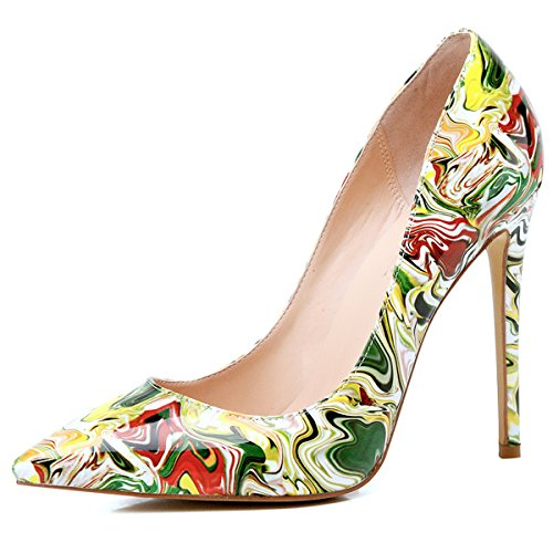 Onlymaker Women's Sexy Pointed Toe High Heel Slip On Stiletto Pumps Large Size Basic Shoes Yellow Print 9.5 M US