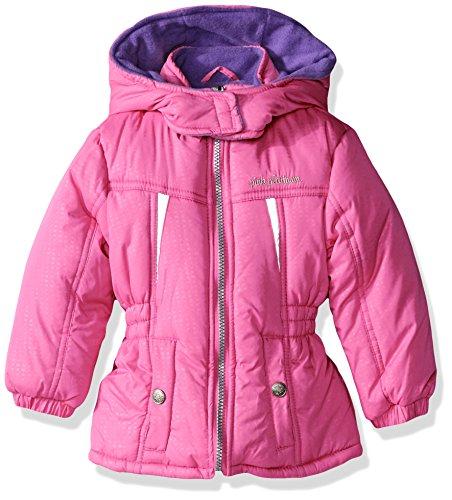 Pink Platinum Big Girls' Stamp Print Active Puffer Jacket, Bright Pink, 10/12 (Pink Girls Coat)