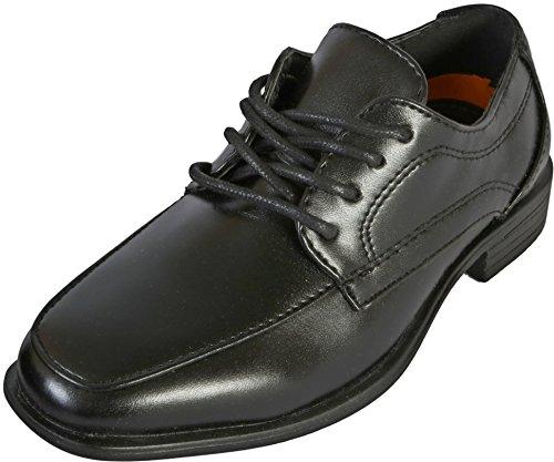 Jodano Collection Boys Memory Foam Lace up Dress Shoe, Black, 8 M US Big ()