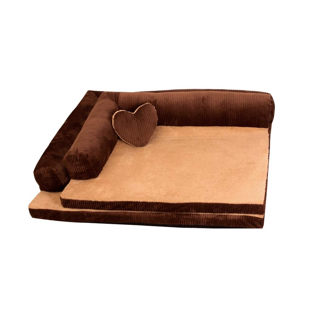 Brown 1059020CM Brown 1059020CM Dog Cave Pet Cat Bed Small Memory Foam for Medium and Large Soft Washable Fleece Fur Pillows (color   BROWN, Size   105  90  20CM)