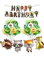 Jungle decoraties verjaardag jongens kinderen banner Happy Birthday met latex ballonnen en safari Forest