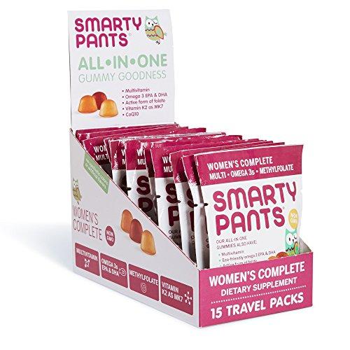 SmartyPants Women's Complete Gummy Vitamins: Gluten Free, Multivitamin, CoQ10, Folate (Methylfolate), Vitamin K2, Vitamin D3, Biotin, Methyl B12, Omega 3 DHA/EPA Fish Oil, 15 count (15 Day Supply) For Sale