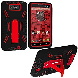 Accessory Planet(TM) Black / Red Heavy Duty Hybrid Hard/Soft Silicone Case Cover with Stand Accessory for Motorola Droid Ultra XT1080