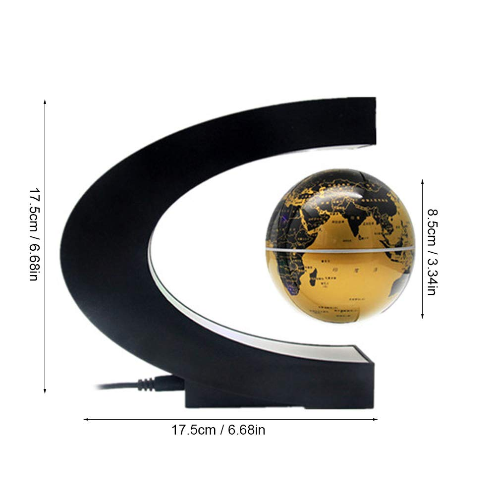 Gold 3 inch C Shape Magnetic Levitating Globe World Map with 4 Colored LED Night Lights,Home Desk Office Decor Childrens Gift Learing Geography