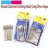 Maslin 5pcs 3mm Shank Long Olive Shape Brazed Diamond Grinding Head Burrs Carving Peeling Bits For Jade Stone Glass Metal Ceramic Mill - (Grit: 3x4mm)
