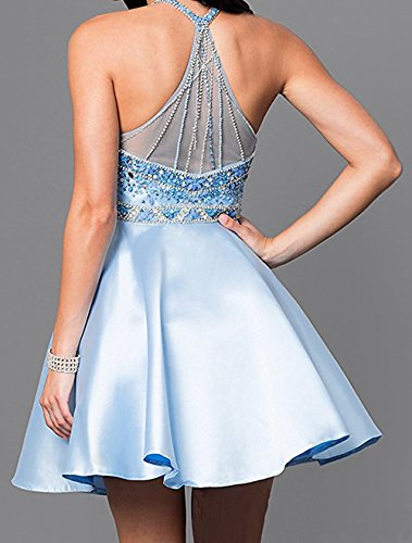 BD355 Short Cocktail Halter BessDress Homecoming Beading Ball Satin Dresses Silver Gown pWzq7Xf7
